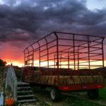 sunset and wagon